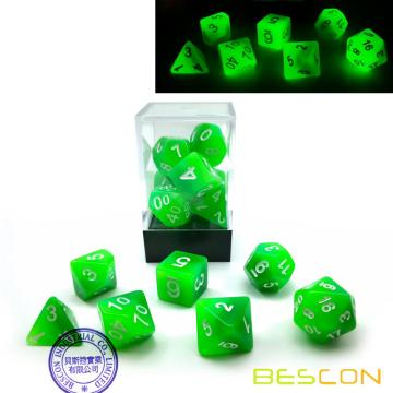 Bescon Gradient Glowing Polyhedral Dice 7pcs Set FOREST LIGHT, Gradual Luminous RPG Dice Set Glow in Dark, Novelty DND Game Dice