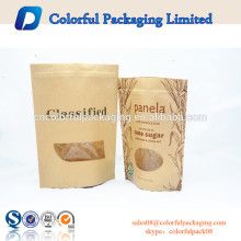 Plain window stand up kraft paper bag dry fruit packaging aluminum foil zipper plastic bags