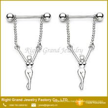 Pezón Barbell anillo 316L acero quirúrgico Naked Girl cuelgan pezón escudo joyas anillos