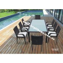 Aluminio de aluminio de comedor Rattan muebles de jardín al aire libre