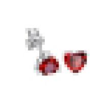 Women′s Fashion 925 Sterling Silver Heart-Shaped Red crystal Earrings