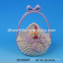 Cestas de pascua de cerámica decorativa con diseño de gallina
