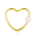 Popular Titanium Synthetic Opal Heart Shape Daith Nose Hoop Ring Piercing
