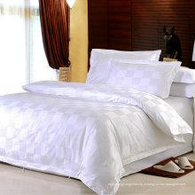 Satin Check Hotel cama de algodão Set com conjunto de edredom (WS-2016020)