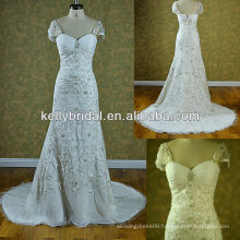 Embroidered and sheath wedding dress