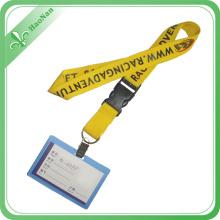 Lanière de support de carte d'identification avec le crochet en métal, lanière d'insigne avec le logo fait sur commande