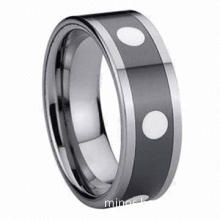 8mm White Ceramic Dotted Tungsten Ring