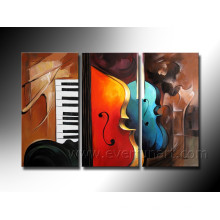 Handmade Hanging Wall Art Abstract Oil Paintings of Violins on Canvas (XD3-198)