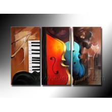 Arte de suspensão Handmade da parede Pinturas a óleo abstratas dos violinos em canvas (XD3-198)