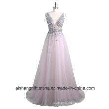 Women Backless Bead Crystal Sleeveless Tulle Evening Party Prom Dress