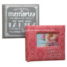 Álbum de fotos de la familia de libros encuadernados de calidad Álbum de fotos impresos de la tela con ventanas de fotos y hermosos bordados