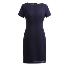 Spring and Summer Fashionable Stripe Round Collar Short Sleeve Dress