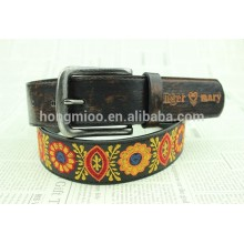 man's fashion embroidery leather belt in wenzhou