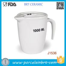 Pichet à mesurer en porcelaine blanche 1000ml 500ml de haute qualité