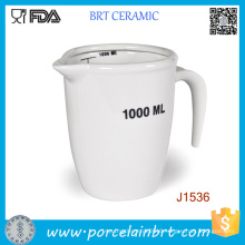 High Quality White 1000ml 500ml Porcelain Measuring Jug