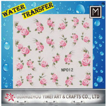 Eco Friendly Pink Flower Water Transfer Printing Paper Finger Nail Art Stickers Decals
