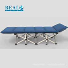 Classical outdoor folding bed with corduroy cotton mattress guest lounge bed manufacturer