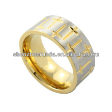 2014 trendy ring ,bright gold plated stainless steel ring , high quality, alluring men ring