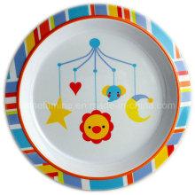 Assiette de dîner en mélamine ronde avec logo