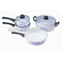 caçarola de esmalte e panela de esmalte e frigideira de esmalte com tampas de vidro e cabos de baquelite