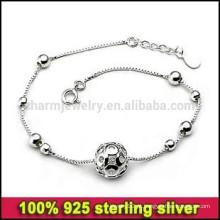 CYL001 Frete grátis! Coreano jóias de prata Atacado, simples cadeia de corrente genuína 100% 925 pulseiras de prata esterlina para as mulheres