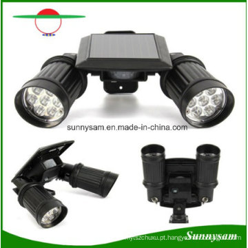 Dual Head 14 LED Waterproof Wall Mount Wireless Spotlight Solar com Sensor de Movimento Solar Wall Light