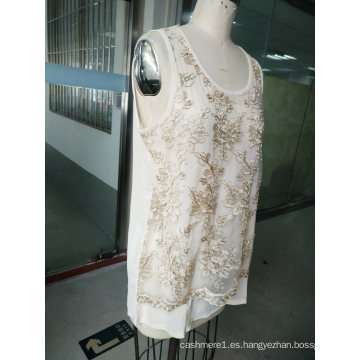 Summer Fashion Gold Thread Embroidery Flower Chaleco de mujer