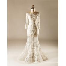 Ver a través de la falda de manga completa vestido de boda sirena