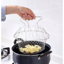 Multi-function 12in1 Stainless Steel Mesh Basket Foldable Chef Basket Wire Mesh Basket
