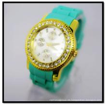 Hanglee-1524 Großhandel Silikon Band Vergoldet Armbanduhren