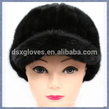 Neue Dame Black Nerz Pelz Peaked Caps