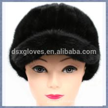 New Lady Black Mink Fur Peaked Caps