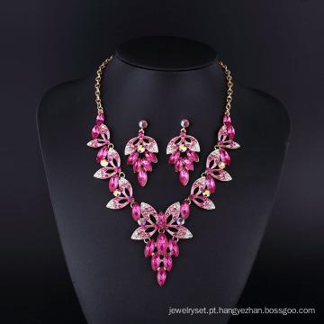 2016 design de moda roxo graça afiada conjunto de colar