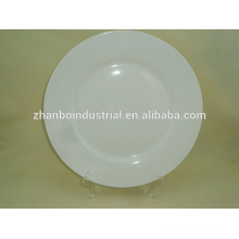 Stock 13 inch white round porcelain plate