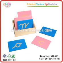 Montessori Sandpapier Buchstaben, Kleinbuchstabe Cursive, mit Box