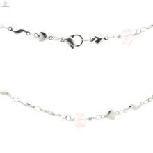 Nuevo modelo de señoras de acero inoxidable de plata cadena de collar de encantos al por mayor