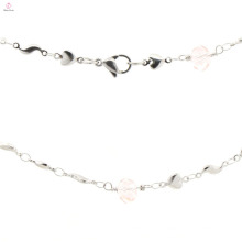 Novo modelo de senhoras de aço inoxidável prata encantos cadeia colar atacado