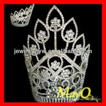 La cinta alta grande plateó la corona cristalina de la tiara del desfile de la reina de la flor del diamante de la flor