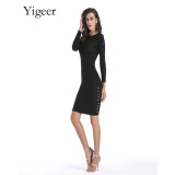 Long Sleeve Knitted Bodycon Women Dress
