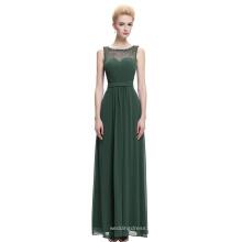 Starzz sem mangas Chiffon Long Dark Green vestido formal de dama de honra ST000064-4
