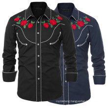 Men Embroidered Rose Western Shirt Button Down Stylish Floral Top