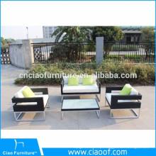 Mobília exterior ajustada do sofá de vime material de alumínio do Rattan
