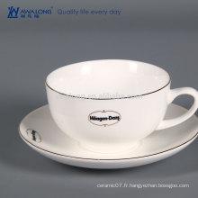 Tasse à café réutilisable avec couvercle, espresso Bone China Coffee Cup and Saucer