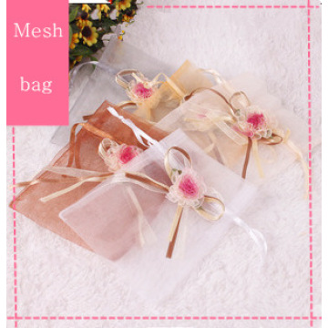 Organza Drawstring Mesh Bag with Fabric Nylon