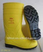 PVC safety boot yellow color fire control steel toe CE20345 tamp resistance