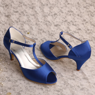 Mid Heel Pumps für Damen Blau Satin