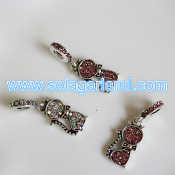 Fashion Women Lovely Cat Crystal Rhinestone Silver Necklace Pendants