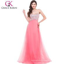 Grace Karin Strapless Floor Length Cheap Long Puffy Beaded Pink Prom Dress CL3107-3