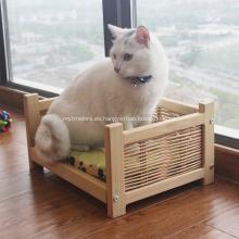 Cesta de mimbre de madera Cama para mascotas para gatos