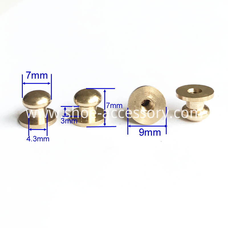 Solid Brass Leather Studs Buttons Cap Rivets 7x9x7mm